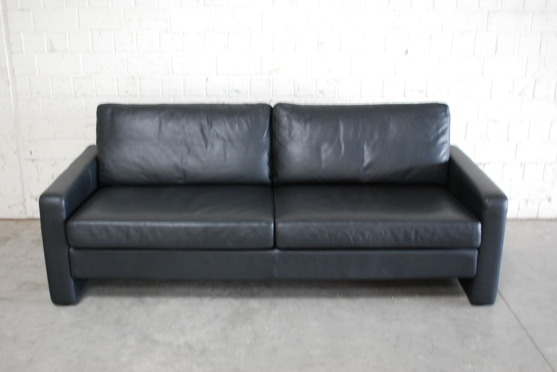 Vintage Black Leather Conseta Sofa From Cor For Sale At Pamono