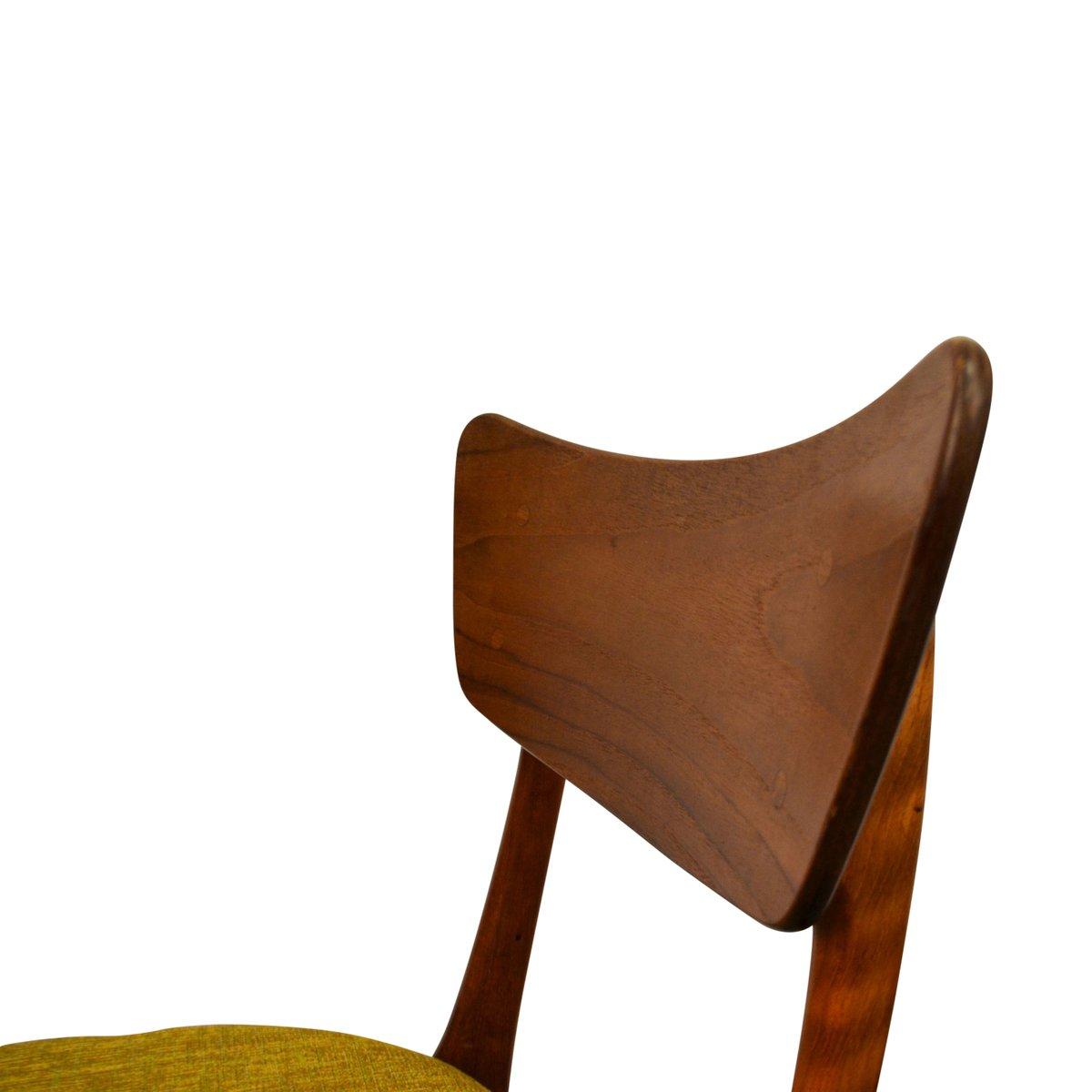 d nische esszimmerst hle aus gr nem stoff 1960er 6er set. Black Bedroom Furniture Sets. Home Design Ideas