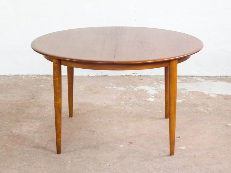 Danish Round Table in Teak with 2 Extension Plates 1960s for sale