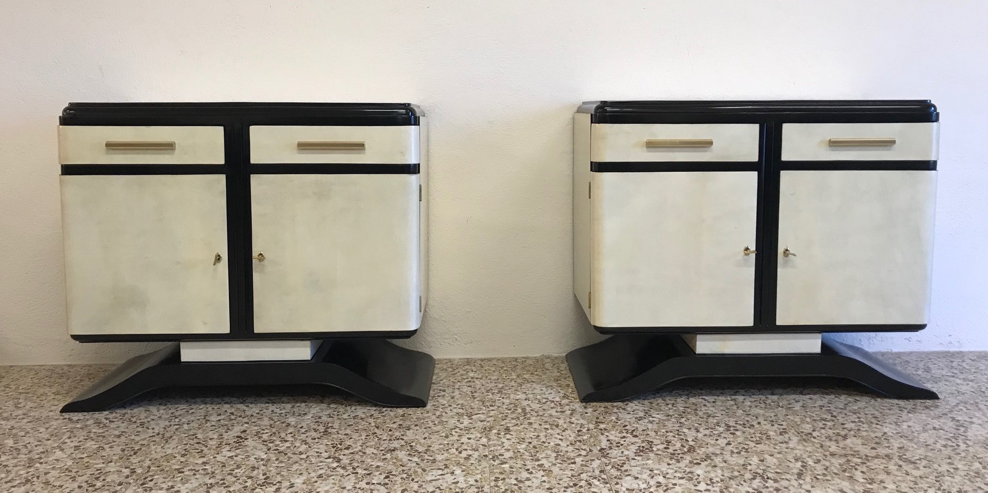 Art deco cabinets 1930s set of 2 for sale at pamono for 1930s kitchen cabinets for sale