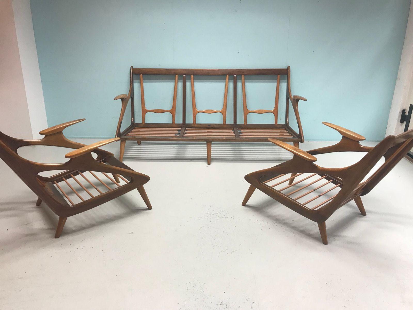 mid century walnut living room set from de ster gelderland 1960s for sale at pamono. Black Bedroom Furniture Sets. Home Design Ideas