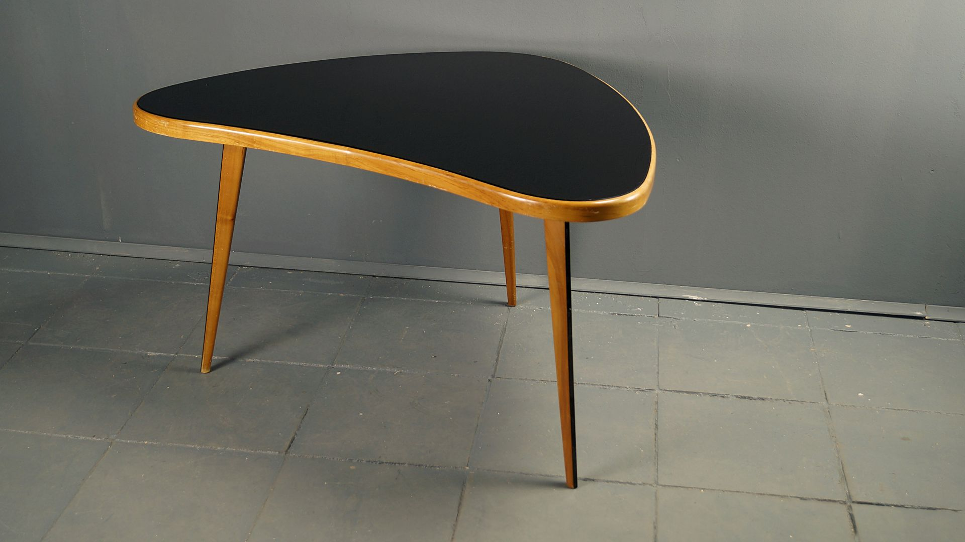 Coffee Table With Black Glass Top 1950s For Sale At Pamono
