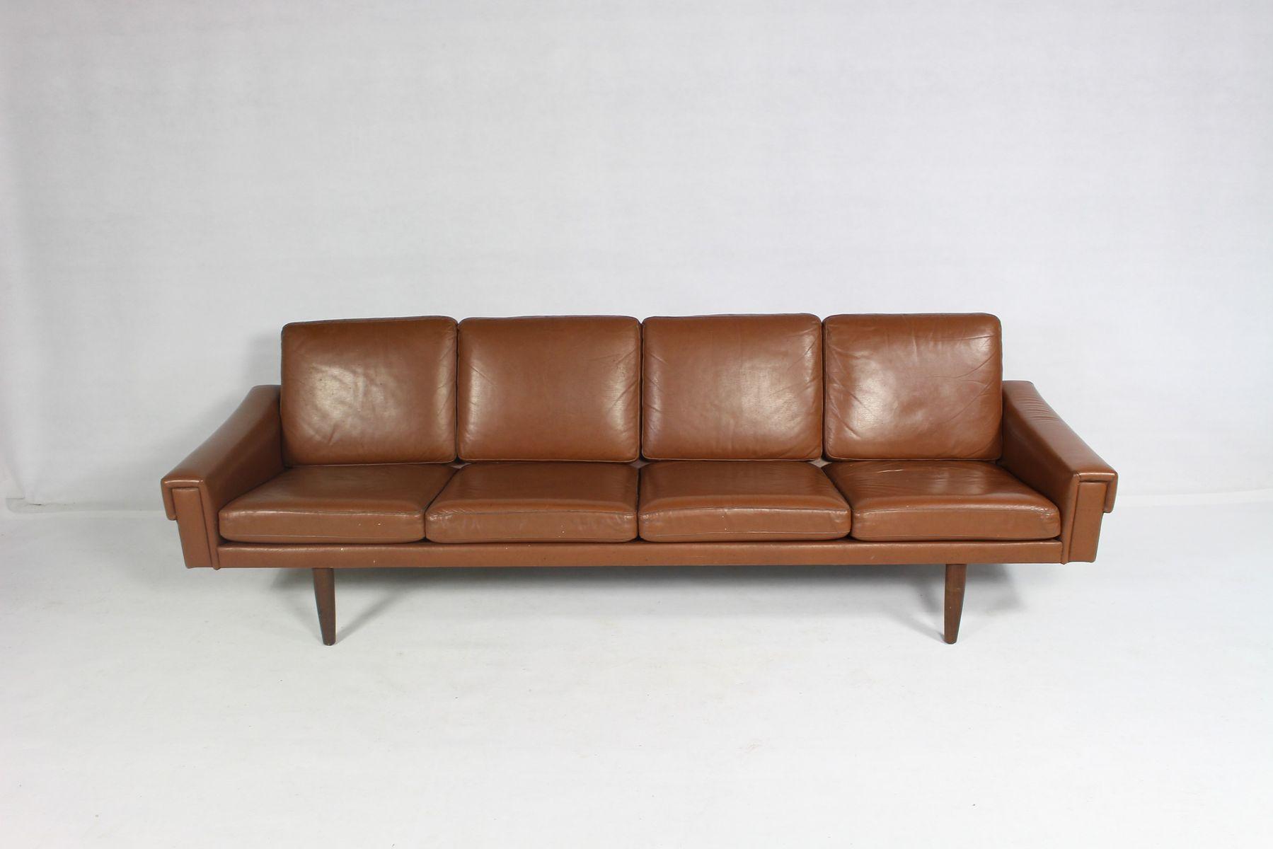 d nisches vintage leder 4 sitzer sofa 1960er bei pamono kaufen. Black Bedroom Furniture Sets. Home Design Ideas