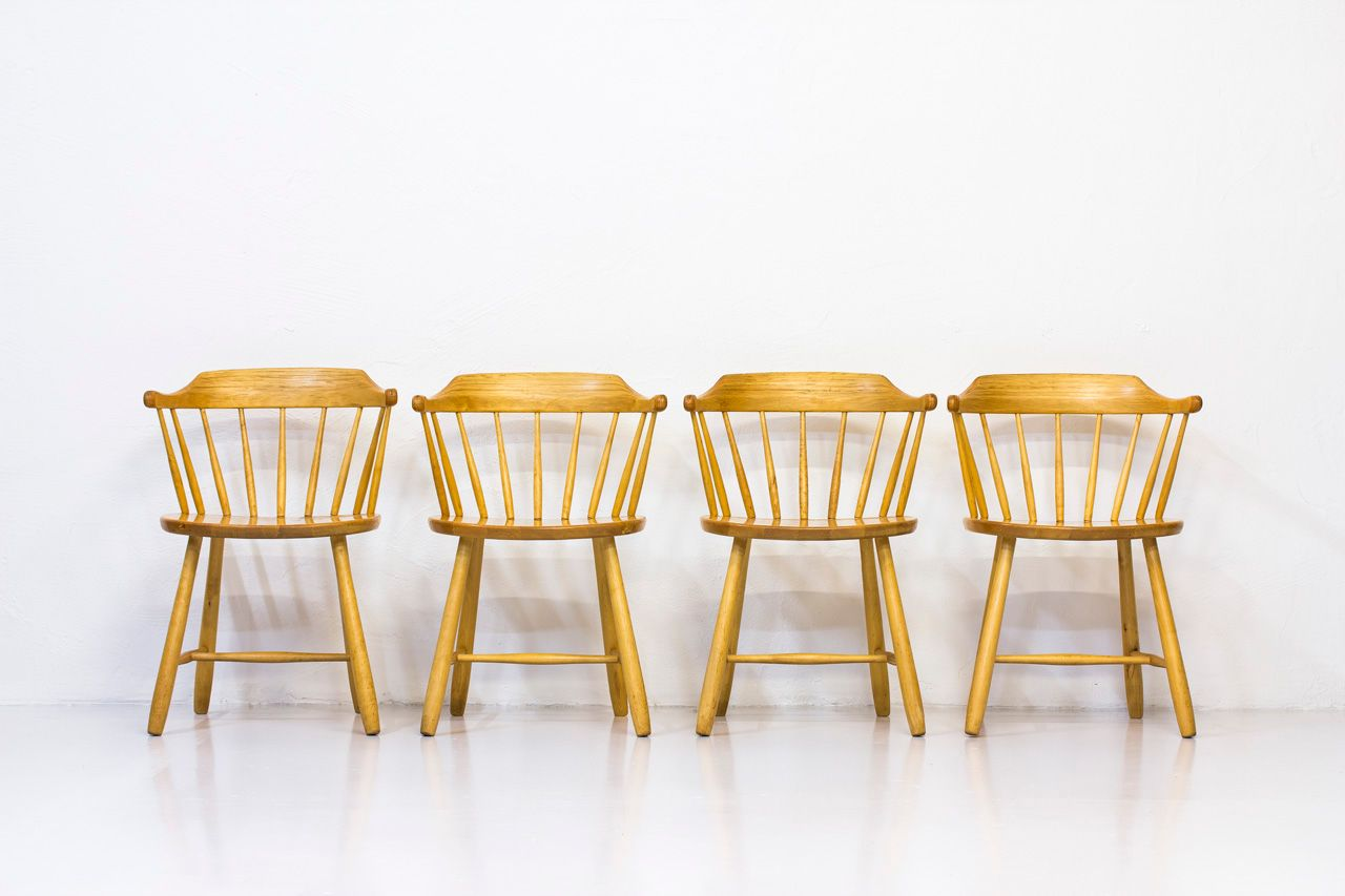 Småland Armchairs by Yngve Ekström for Stolab, 1960s, Set of 4 for sale at Pamono