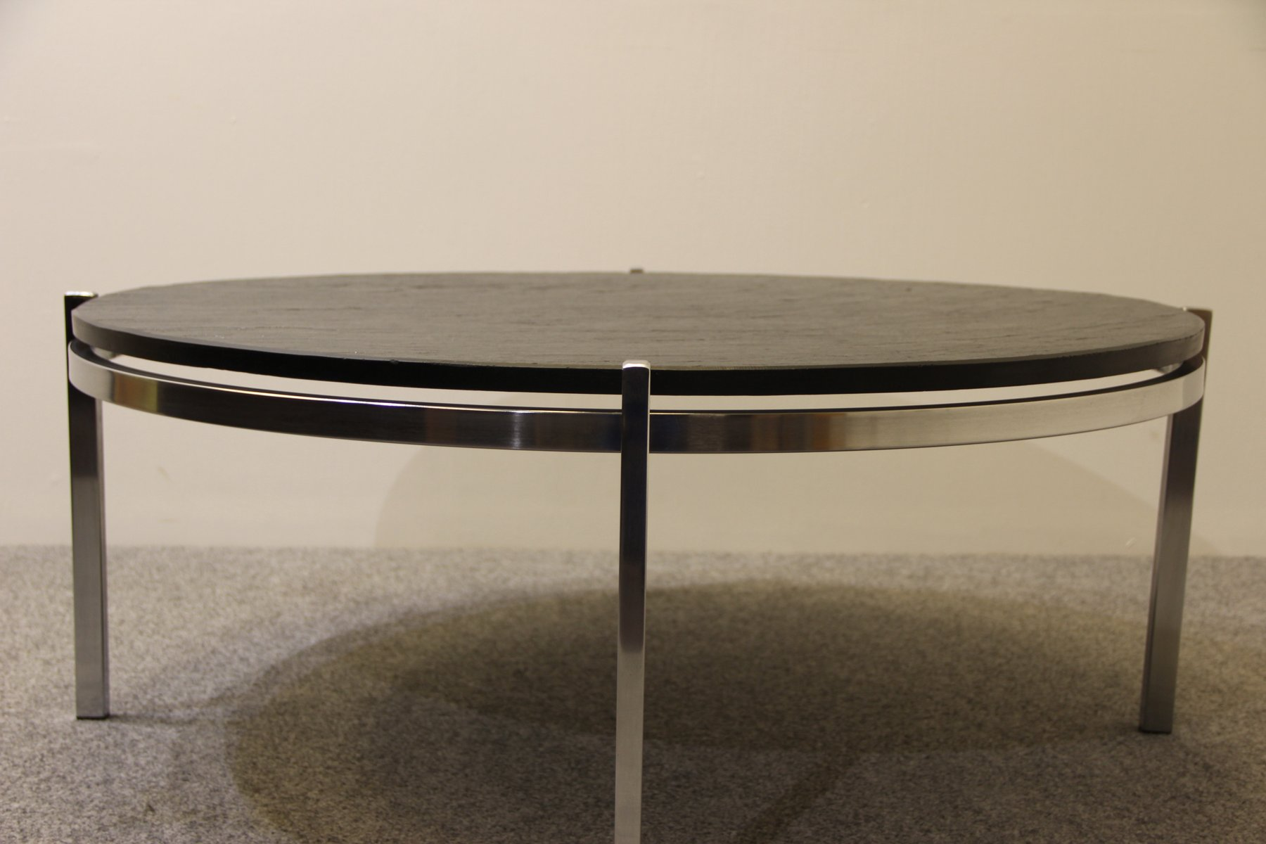 Mid Century Chrome Amp Black Slate Table For Sale At Pamono