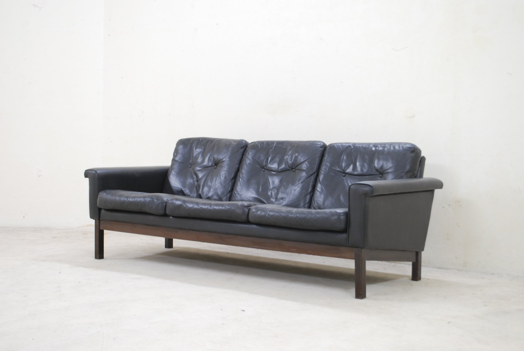 Vintage Black Leather Sofa from Asko for sale at Pamono