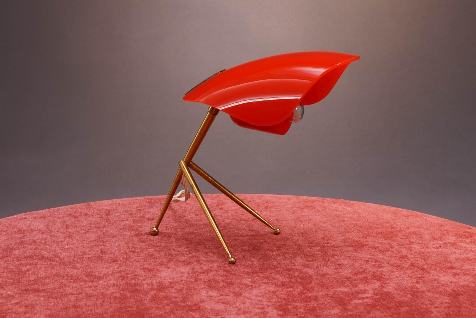 tischlampe mit rotem schirm von stilnovo 1950er bei. Black Bedroom Furniture Sets. Home Design Ideas