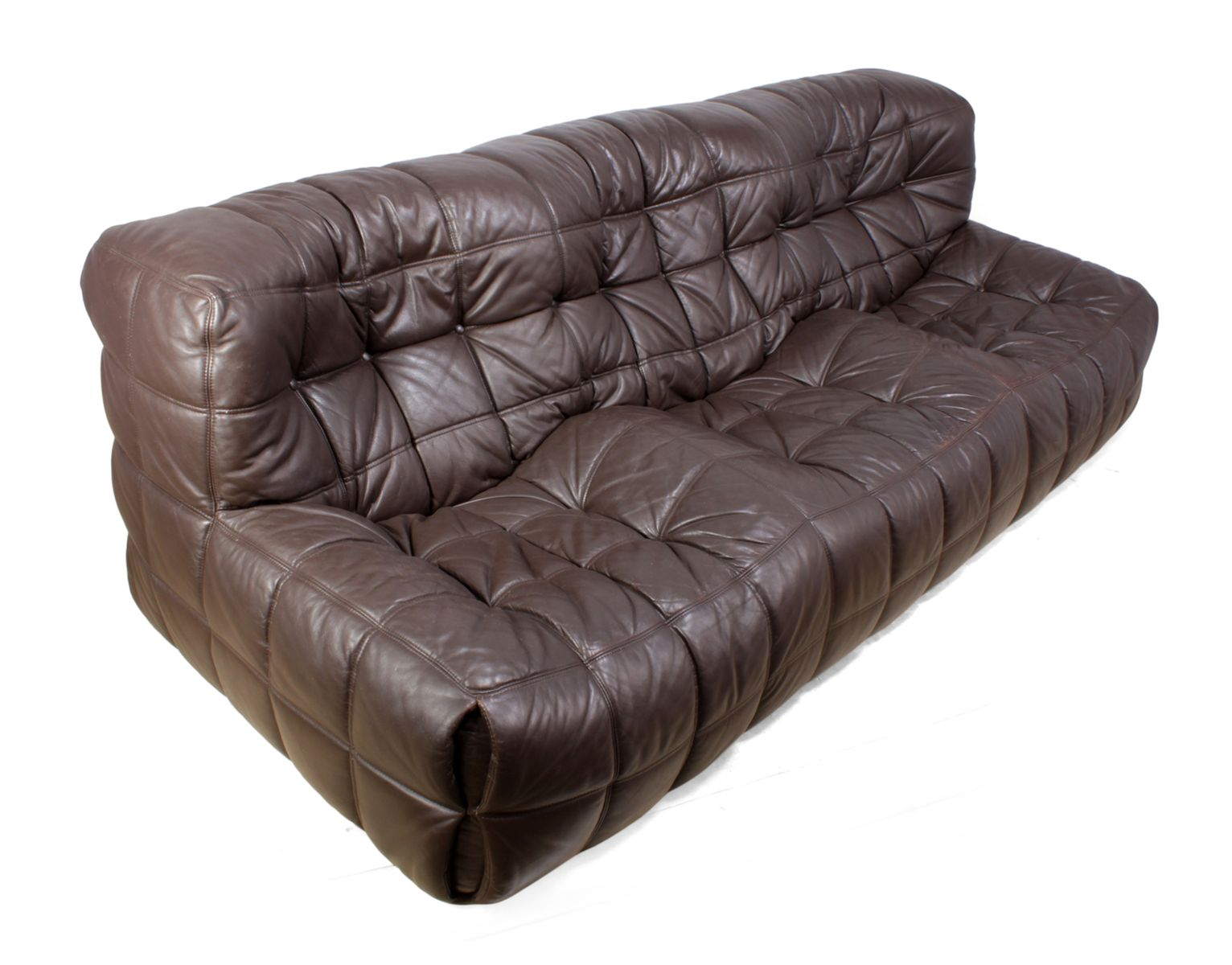 mid century leather kashima sofa by michel ducaroy for. Black Bedroom Furniture Sets. Home Design Ideas