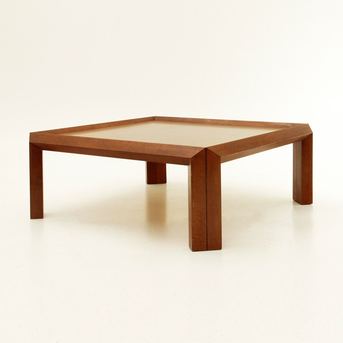 Italian Square Wooden Coffee Table 1980s For Sale At Pamono