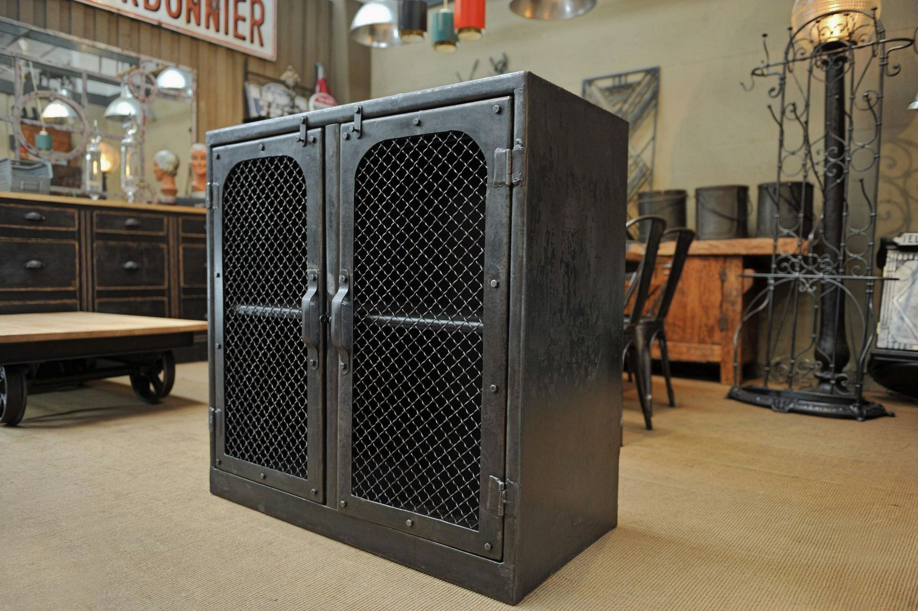 Large steel factory cabinet 1940s for sale at pamono for 1940s kitchen cabinets for sale