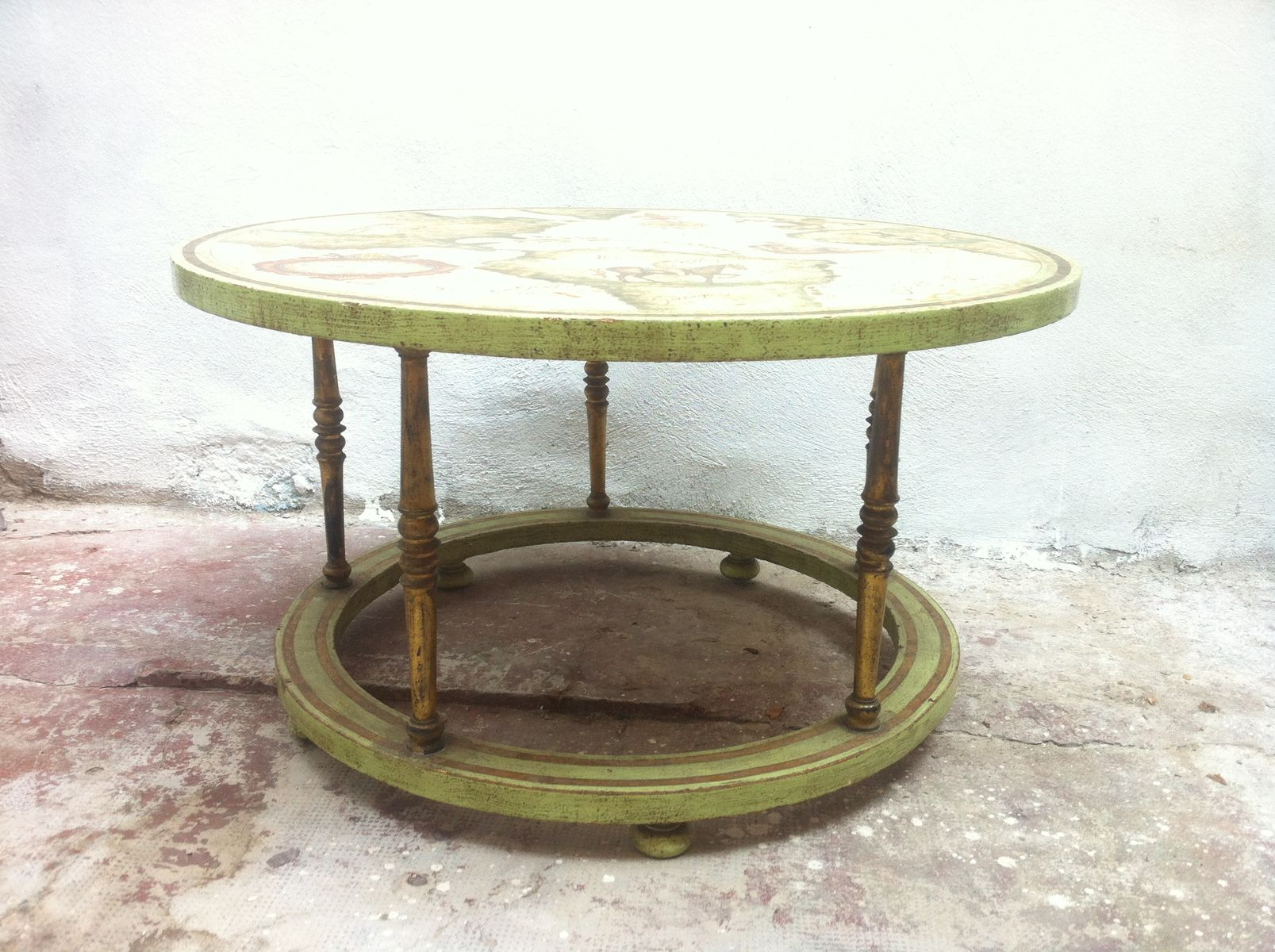 Vintage Hand Painted Coffee Table for sale at Pamono