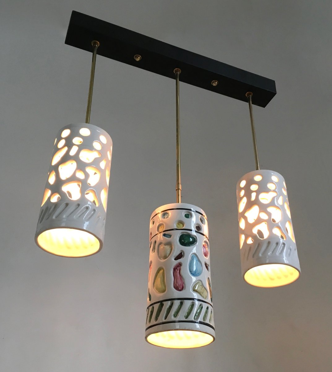 Italian ceramic brass ceiling lamp 1950s for sale at pamono price per piece arubaitofo Choice Image
