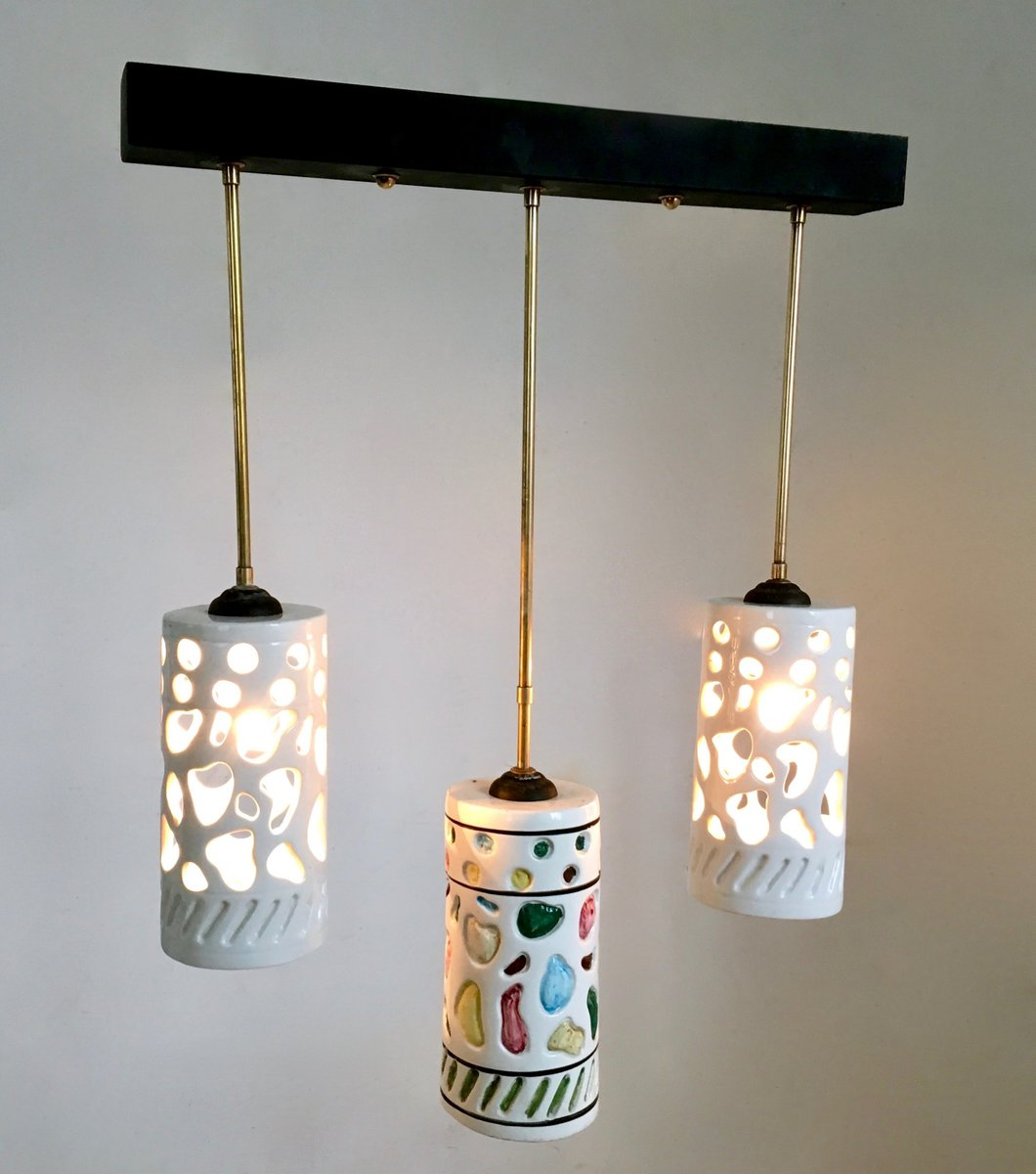 Italian ceramic brass ceiling lamp 1950s for sale at pamono aloadofball Image collections