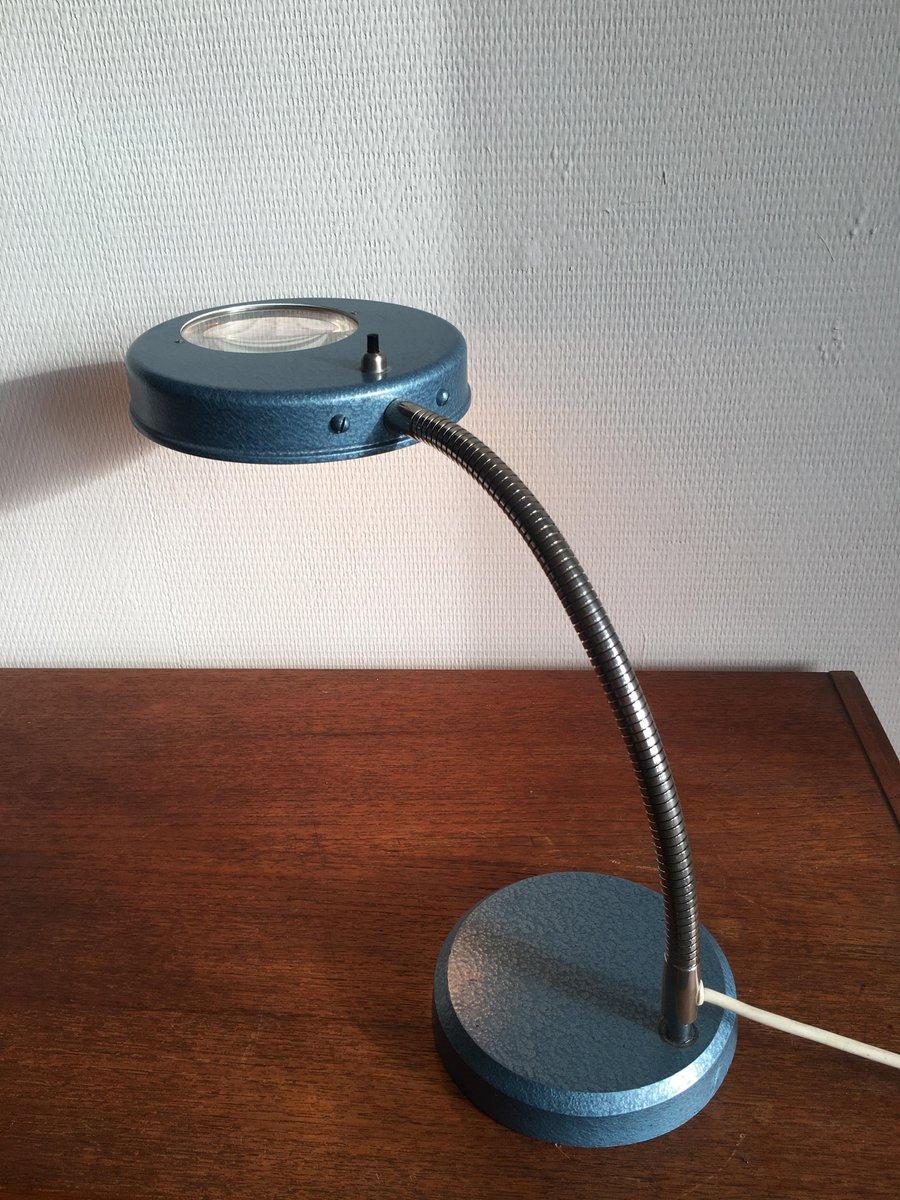 vintage industrie schreibtischlampe mit lupe 1950er bei pamono kaufen. Black Bedroom Furniture Sets. Home Design Ideas
