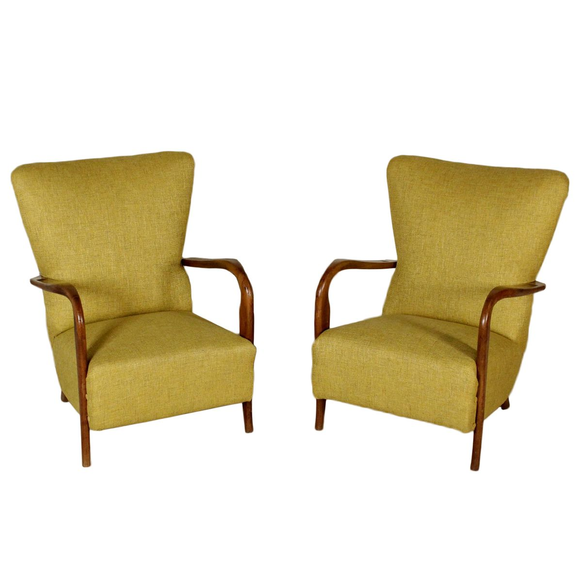 fabric armchairs in beech with spring padding 1950s set