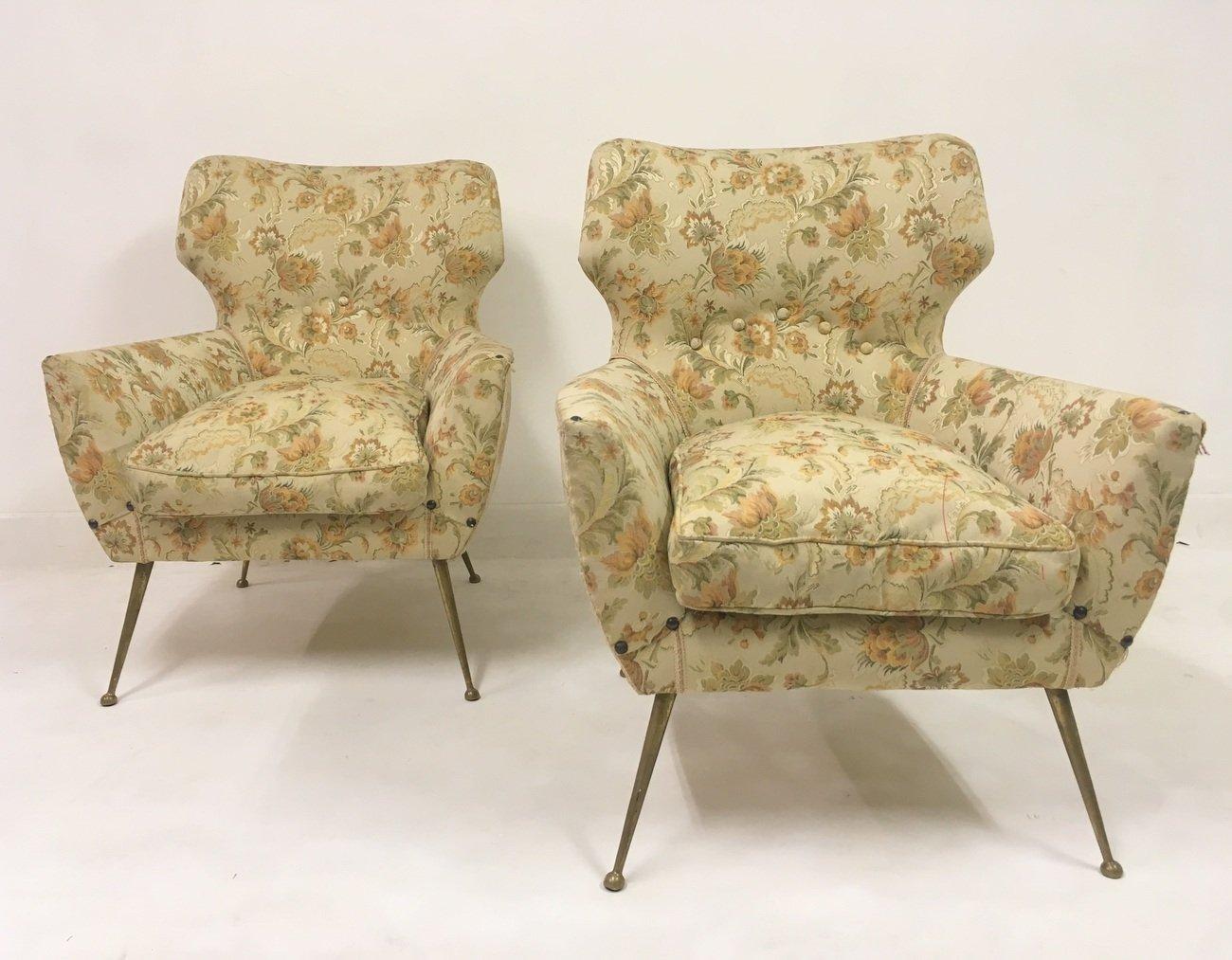 italienische sessel auf f en aus messing 1950er 2er set bei pamono kaufen. Black Bedroom Furniture Sets. Home Design Ideas