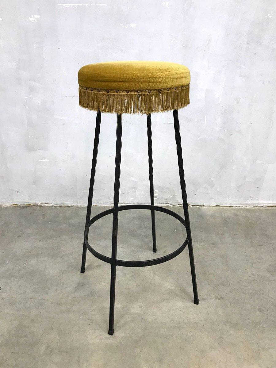 Vintage barhocker in veloursstoff 4er set bei pamono kaufen for Retro barhocker