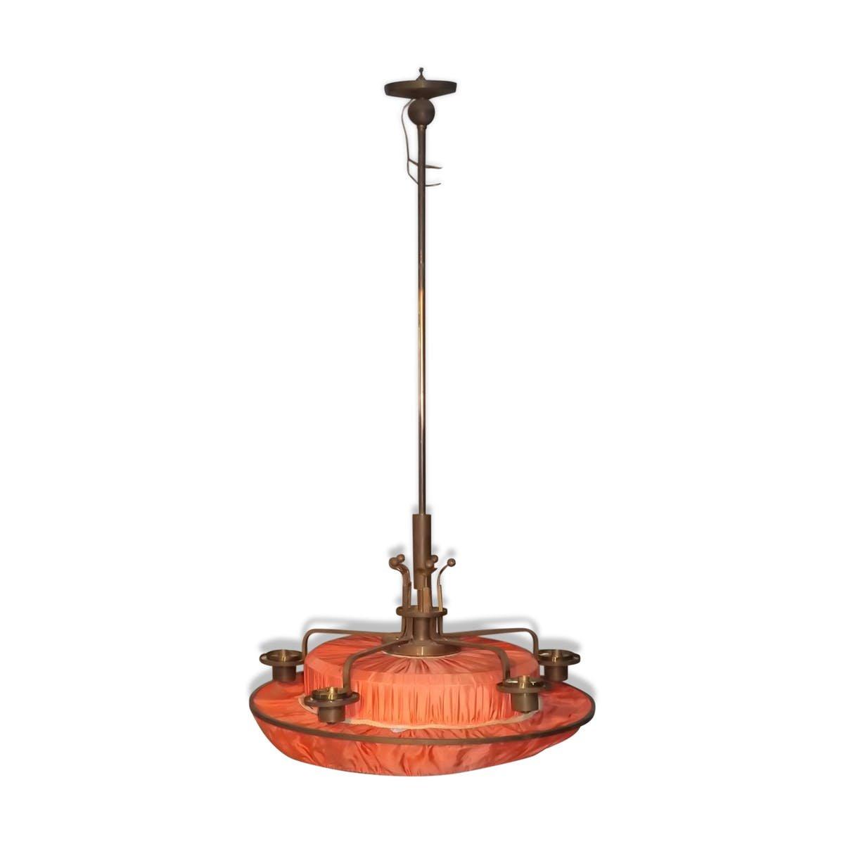 Antique art nouveau brass bronze chandelier with silk drapery antique art nouveau brass bronze chandelier with silk drapery arubaitofo Images