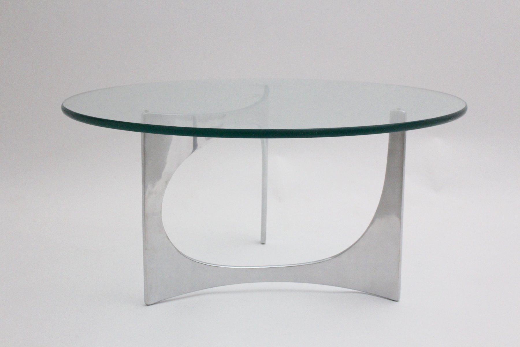 Vintage German Round Glass Coffee Table by Knut Hesterberg 1970s