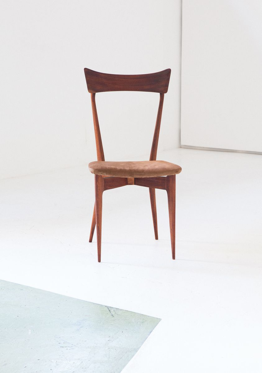 Italian Leather Mahogany Dining Chairs By Ico Parisi For
