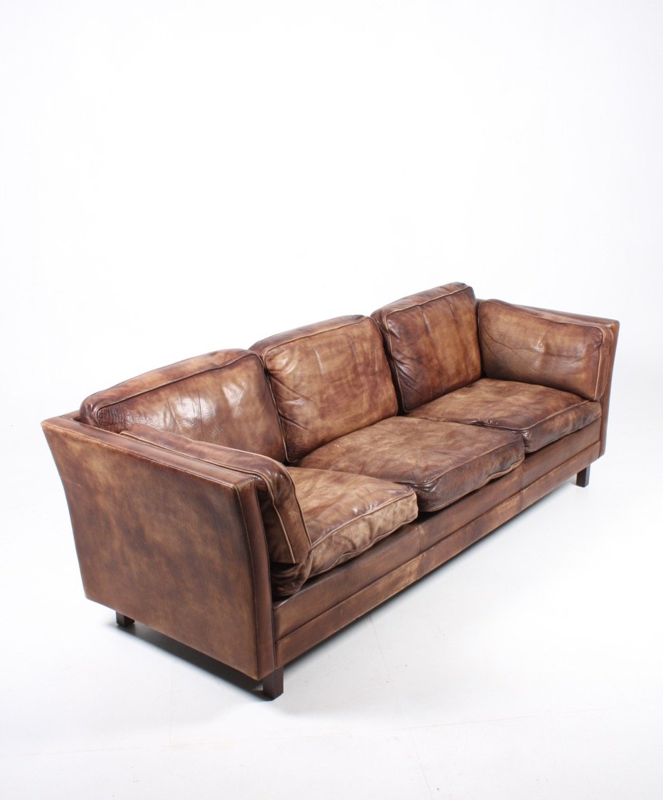 Vintage Danish Brown Leather Sofa From Mogens Hansen 1980s For Sale At Pamono