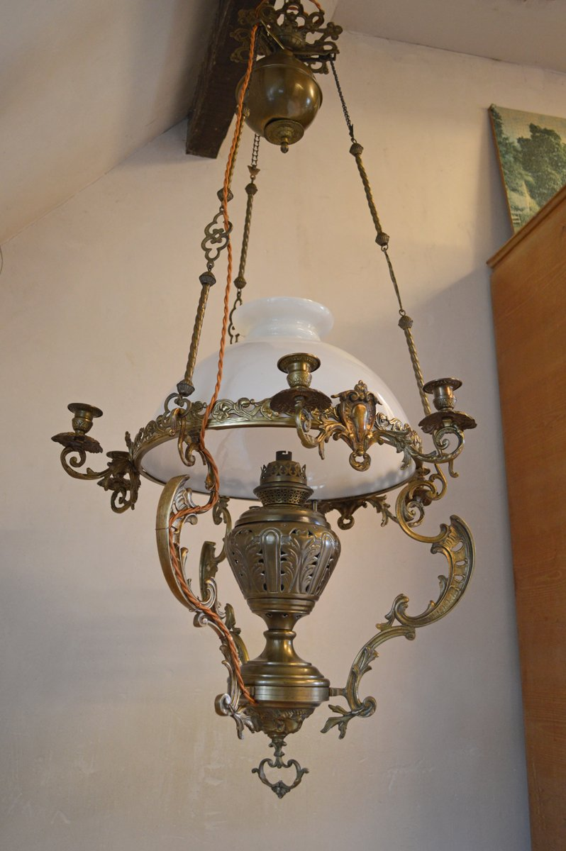 Large 19th century chandelier in bronze and brass for sale at pamono arubaitofo Images