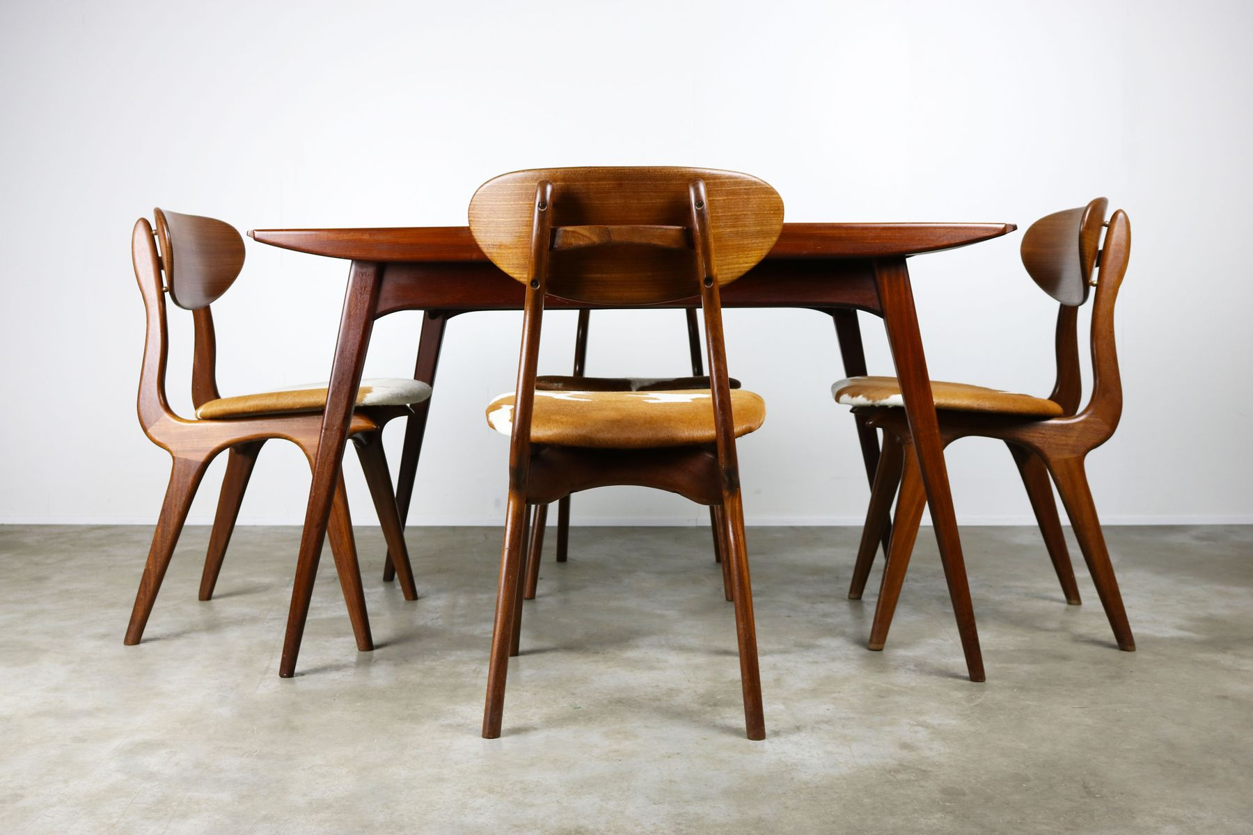 teak dining room set by louis van teeffelen for w b 1950s for sale at pamono. Black Bedroom Furniture Sets. Home Design Ideas