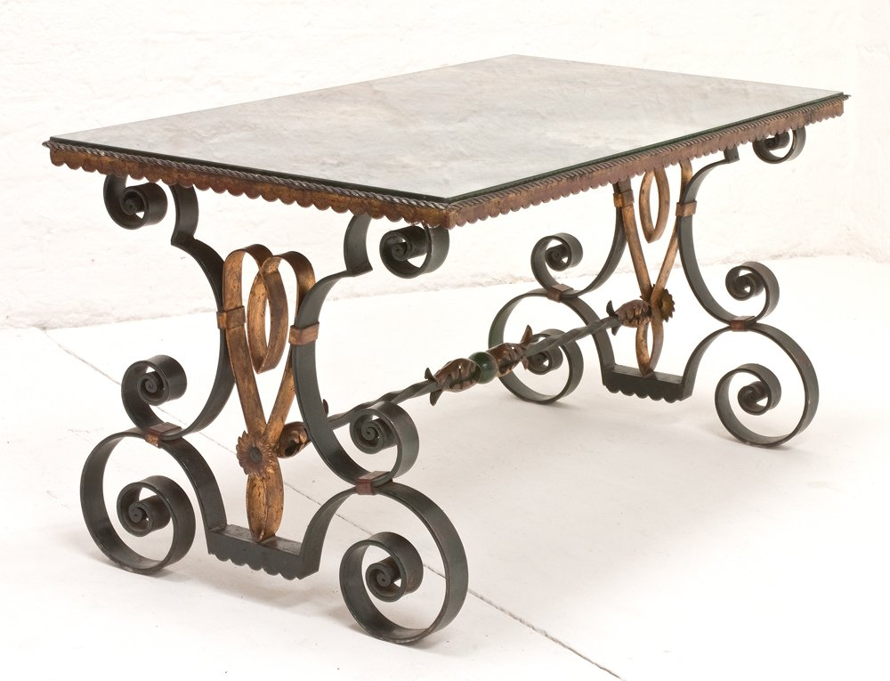 Vintage French Wrought Iron Coffee Table 1940s For Sale