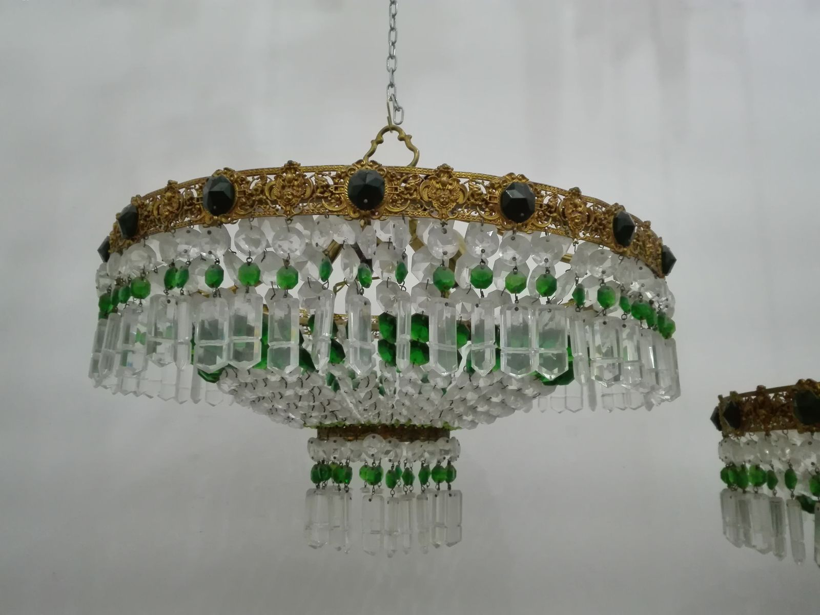 Italian crystal ceiling lights 1960s set of 2 for sale at pamono aloadofball Choice Image