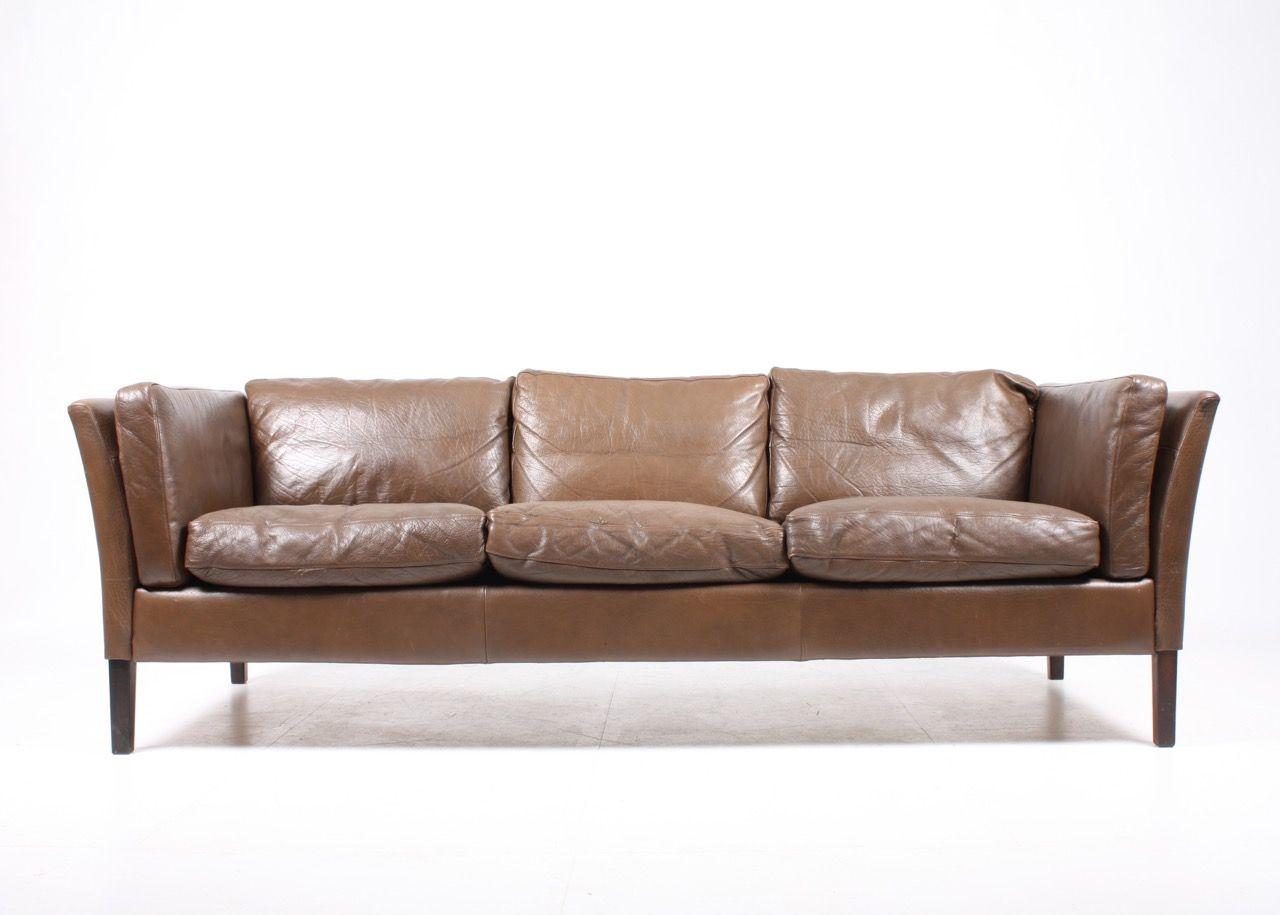 Danish Brown Leather Sofa, 1980s for sale at Pamono