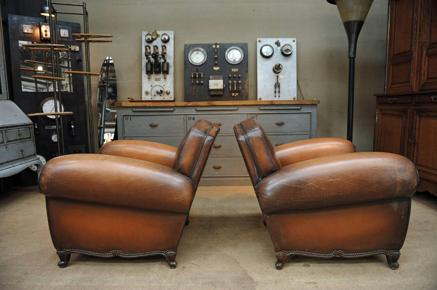 French Leather Club Chairs, 1950s, Set Of 2 10. $7,554.00. Price Per Set