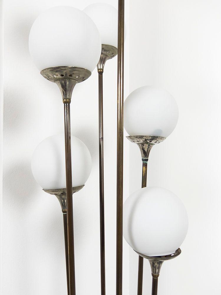 6 light brass alberello floor lamp from stilnovo 1960s for Hyatt 6 light floor lamp brass