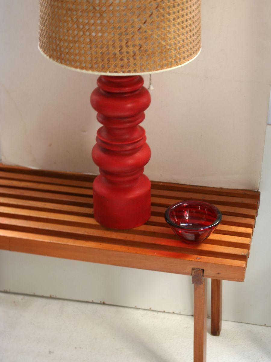 vintage rote holz tischlampe 1960er bei pamono kaufen. Black Bedroom Furniture Sets. Home Design Ideas