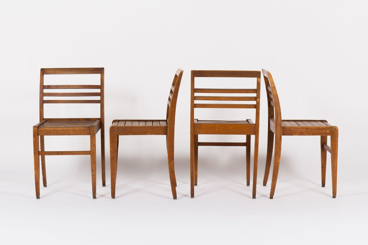 Good Stackable Beech Chairs By Rene Gabriel, 1950, Set Of 4