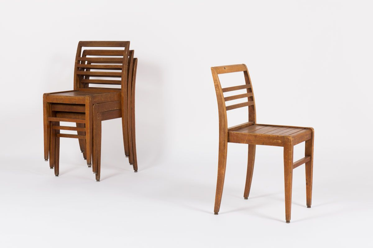 Stackable beech chairs by rene gabriel 1950 set of 4 for for Chaises empilables
