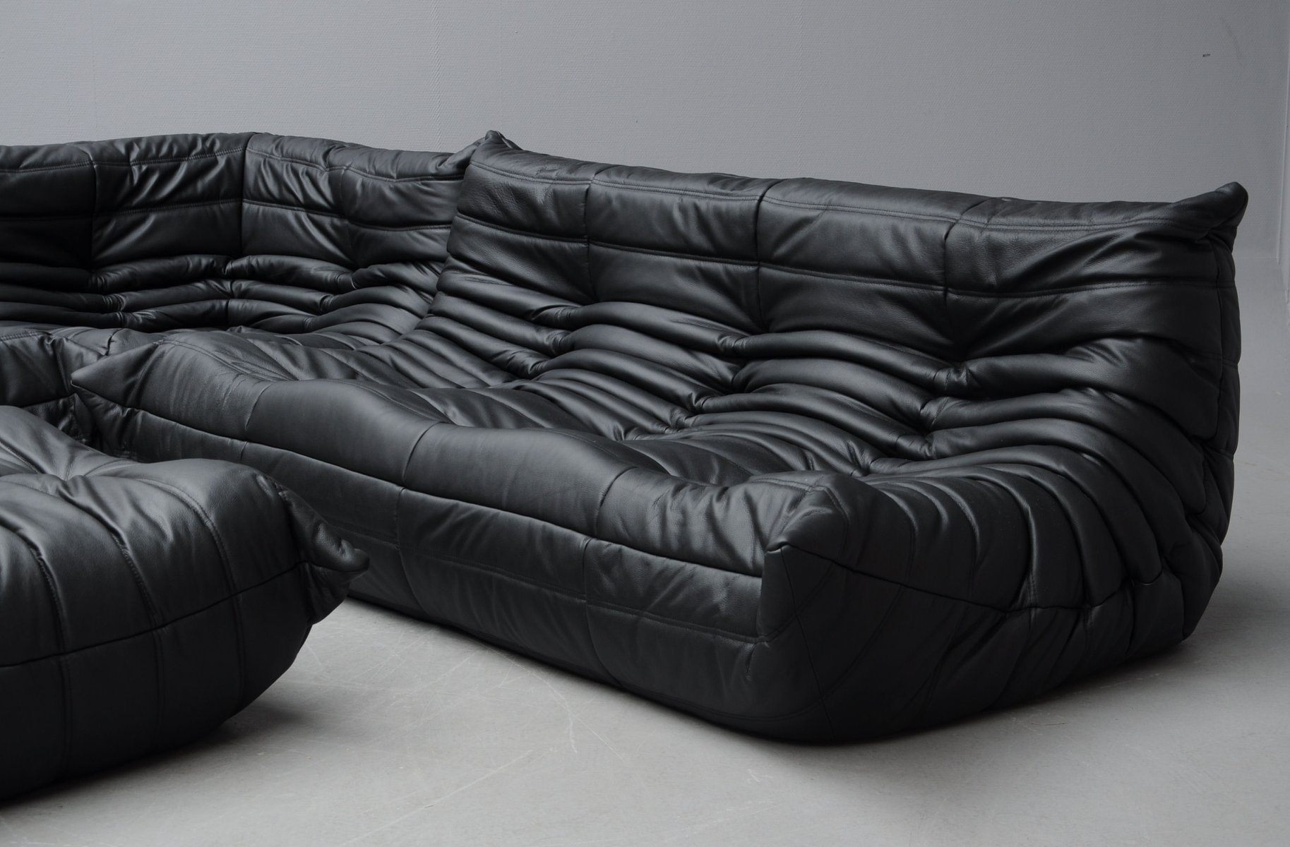 vintage black leather togo sofa set by michel ducaroy for. Black Bedroom Furniture Sets. Home Design Ideas