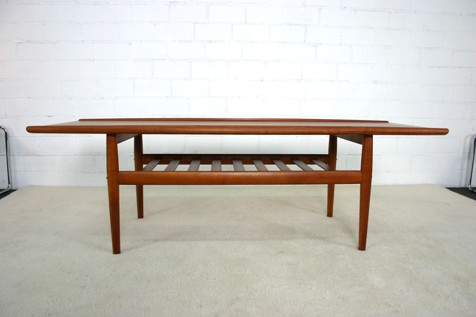 danish solid teak coffee table by grete jalk for glostrup 1960s