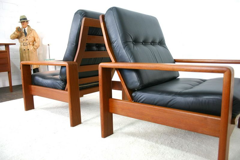 d nischer sessel aus teakholz mit lederbezug von bramin bei pamono kaufen. Black Bedroom Furniture Sets. Home Design Ideas