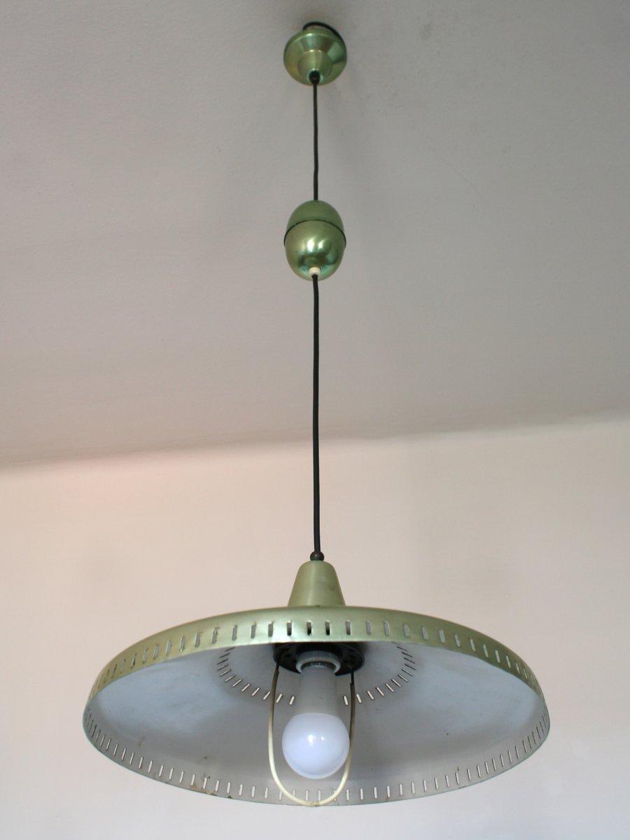 vintage h ngelampe aus gr nem metall 1950er bei pamono kaufen. Black Bedroom Furniture Sets. Home Design Ideas