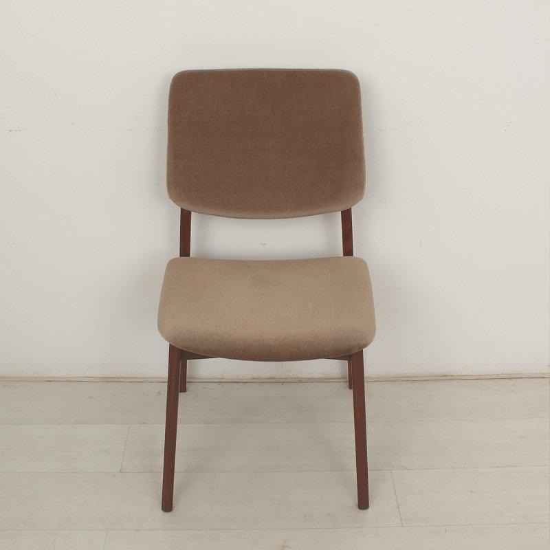 vintage teak st hle mit stoffbez gen 1960er 4er set bei pamono kaufen. Black Bedroom Furniture Sets. Home Design Ideas