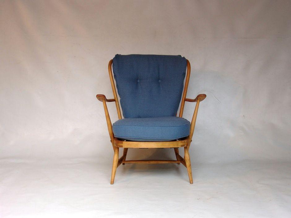 fauteuil vintage bleu par lucian ercolani pour ercol en vente sur pamono. Black Bedroom Furniture Sets. Home Design Ideas