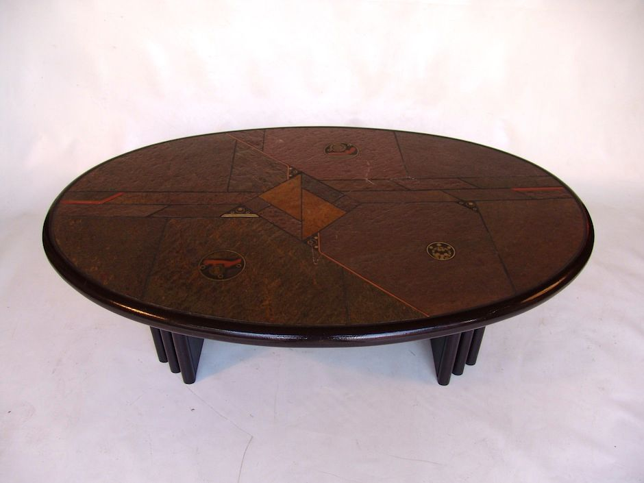 Wood Coffee Table With Granite Top : Vintage Wooden Coffee Table with Stone Top for sale at Pamono