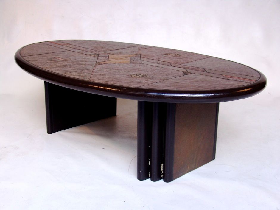 Vintage wooden coffee table with stone top for sale at pamono Stone top coffee table