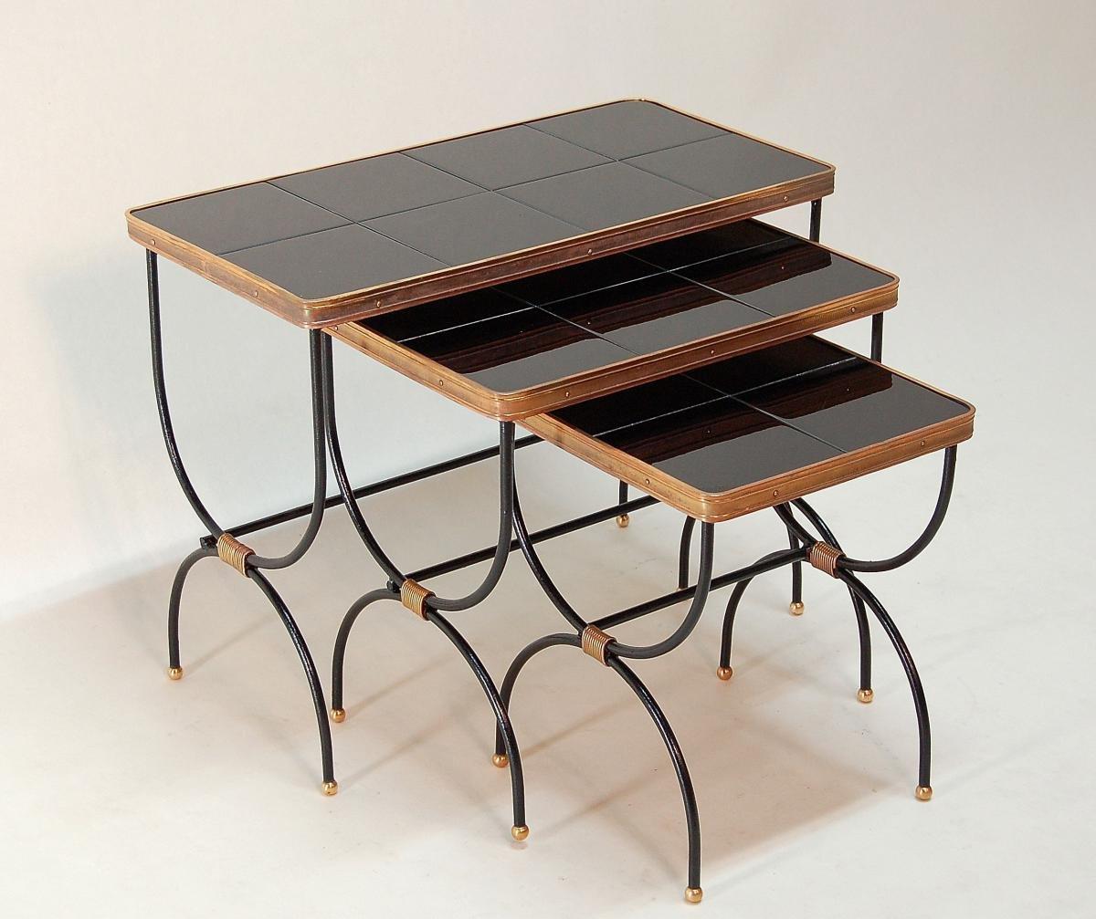 tables gigognes par jacques adnet 1930s en vente sur pamono. Black Bedroom Furniture Sets. Home Design Ideas