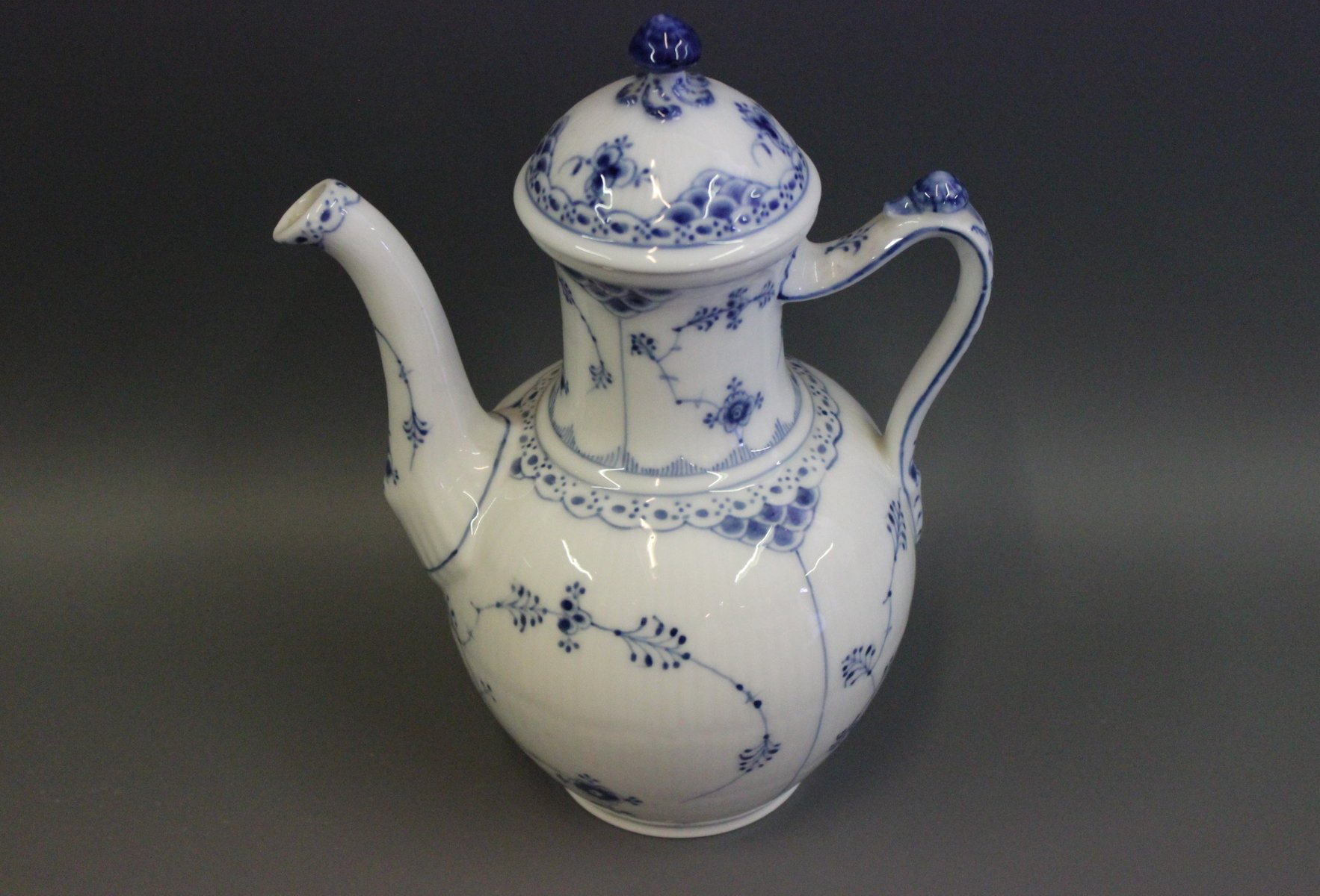 blue fluted half lace porcelain coffeepot by royal. Black Bedroom Furniture Sets. Home Design Ideas