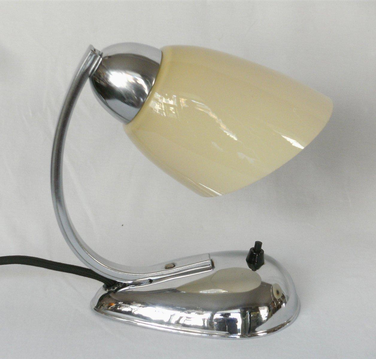 mid century chrom nachttisch lampen tschechien 1940er 2er set bei pamono kaufen. Black Bedroom Furniture Sets. Home Design Ideas