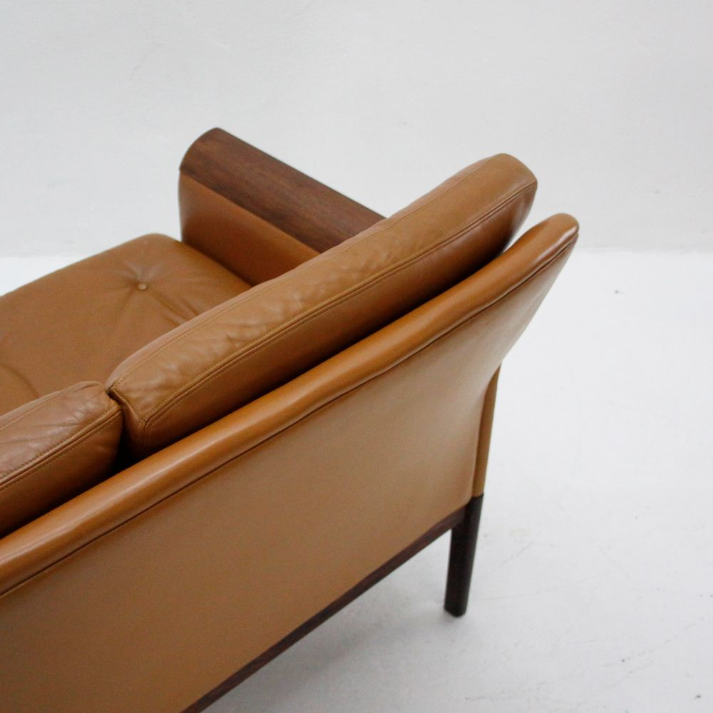 Vintage three seater leather sofa by eugen schmidt for for Leather sofa 7 seater