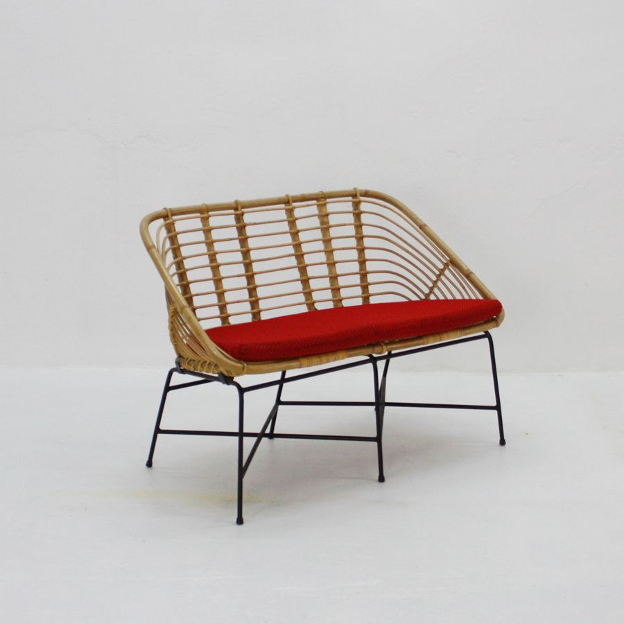 Rattan And Metal Bench 1950s For Sale At Pamono