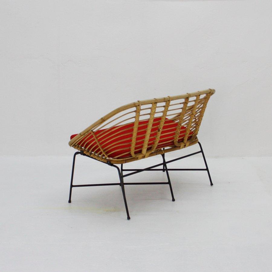 Rattan And Metal Bench 1950s For Sale At Pamono