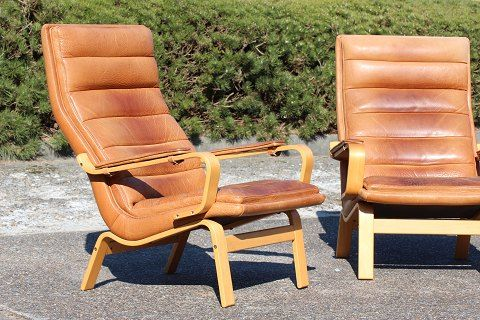 skandinavische cognac leder sessel 2er set 1970er bei. Black Bedroom Furniture Sets. Home Design Ideas